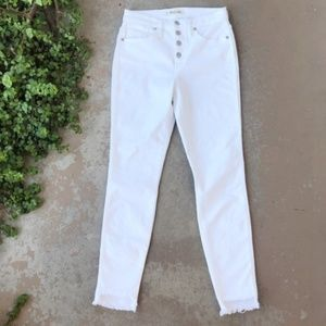 "Madewell White 10"" High Rise Skinny Fray Jeans"